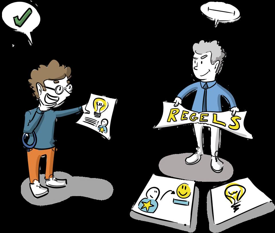 beeld schoolleider inspectie ruimte in de regels visueel onderzoeken tekenaar