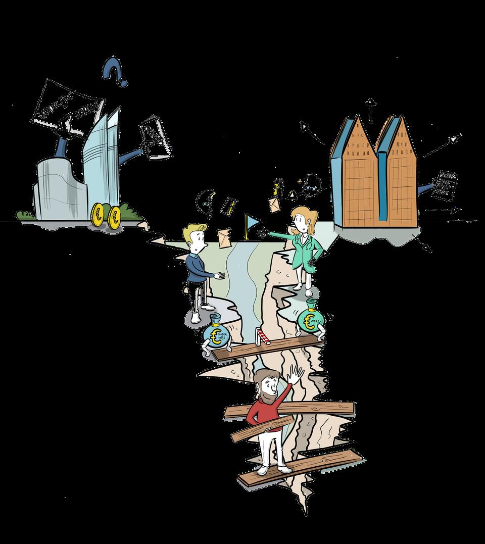 Praatplaat kloof tussen onderwijs en zorg ministerie kloof bruggen slaan tekening visualisatie beeld visie