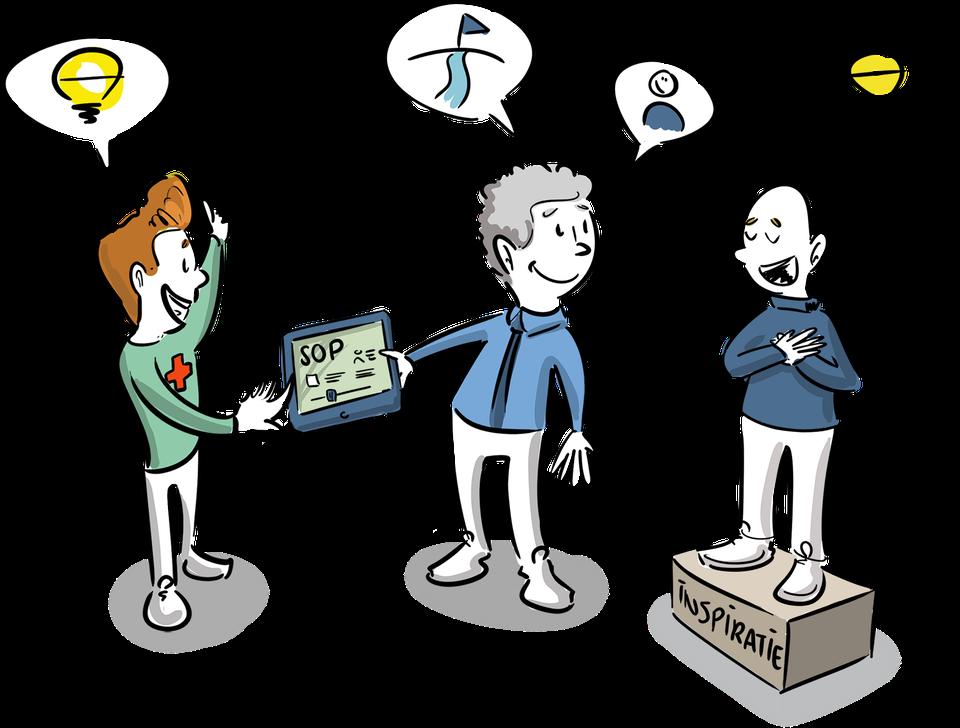 illustratie visueel denken kennis delen tekening schoolleider leraren passend onderwijs