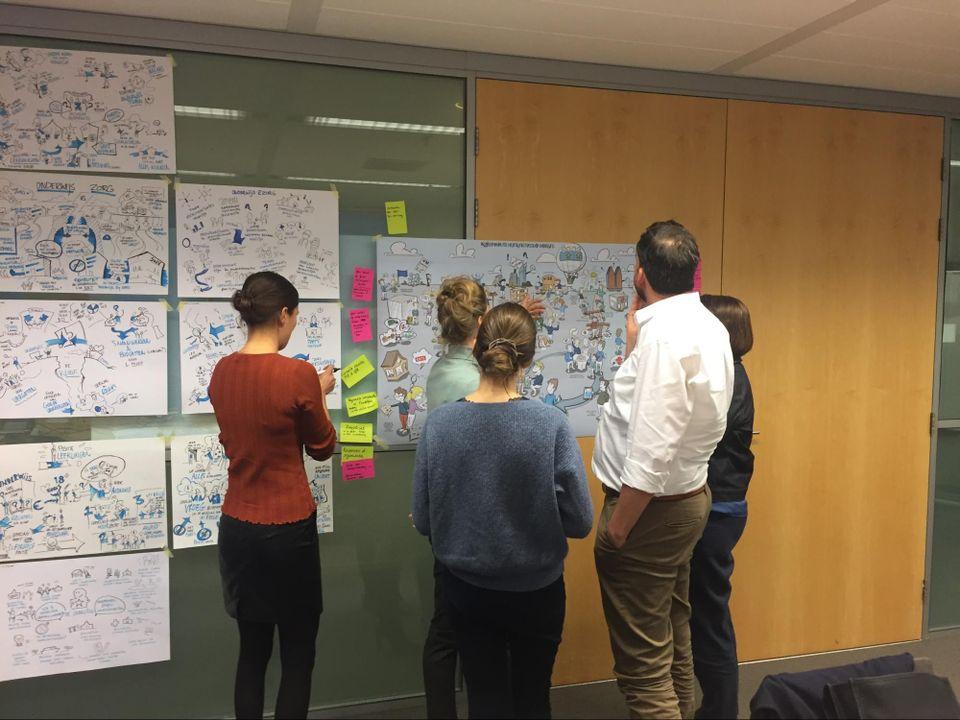 brainstorm workshop visueel notuleren verhalen vertellen voorbeeld notulen tekenaar tekeningen tekening visuele communicatie