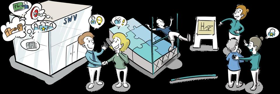 praatplaat samenwerkingsverbanden training workshop leren tekenen communicatie en organisatie infographic proces
