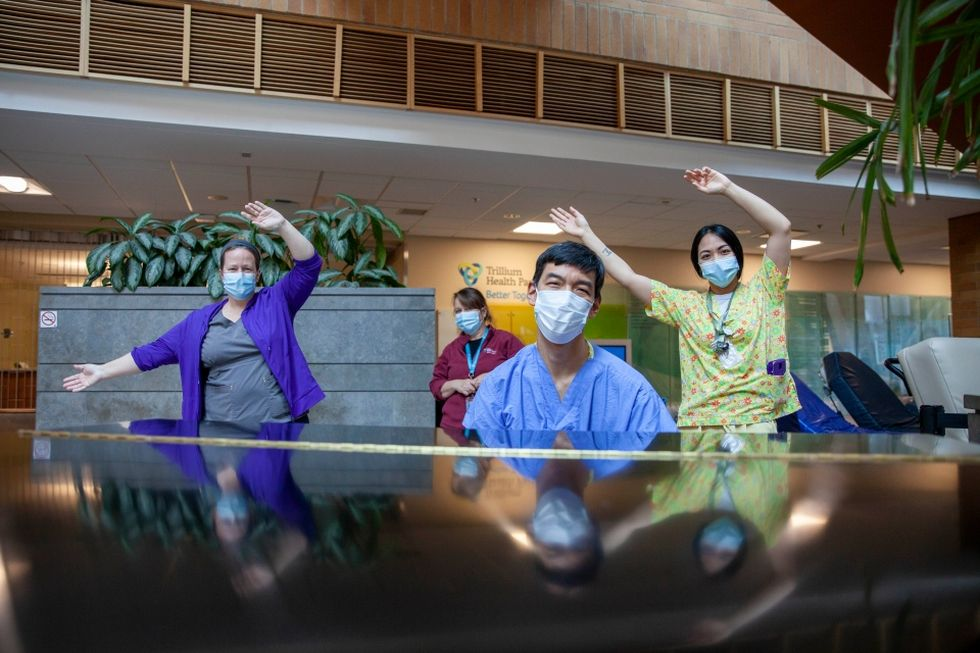 Some of the musicians at Credit Valley Hospital. Photo: CTV News.