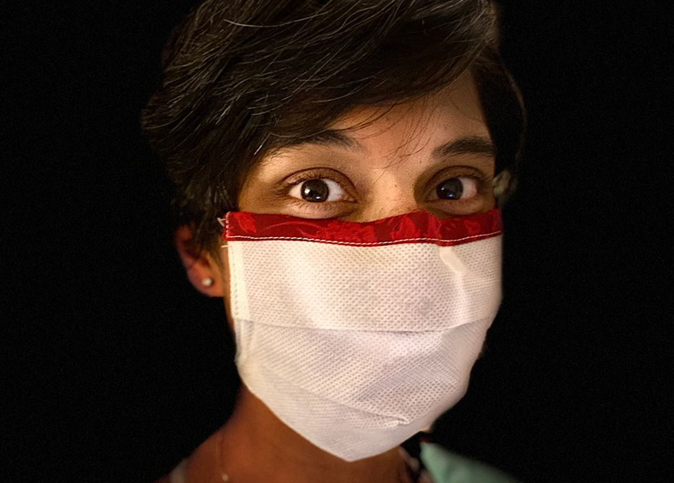 Dr. Reena Kilan wearing an early prototype of the reusable mask. Photo: U of T