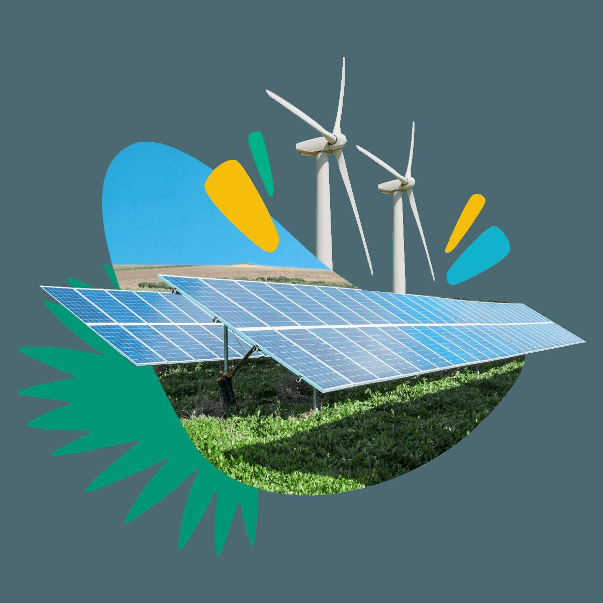 Illustration of solar farms & wind farms