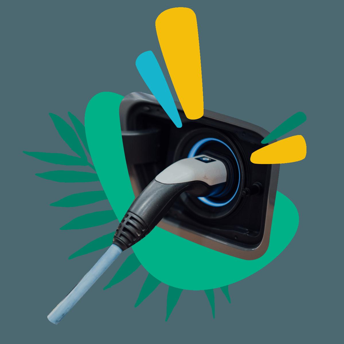 Illustration of electric vehicle charging plug