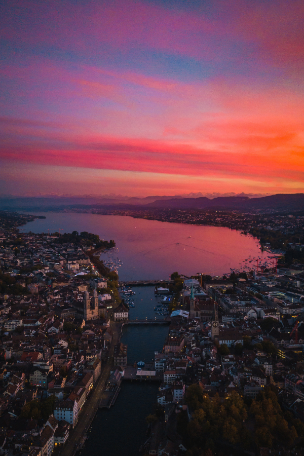 Zurich horizon during sunset