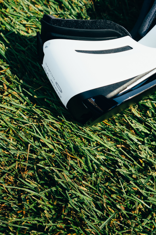 Virtual reality headset on grass