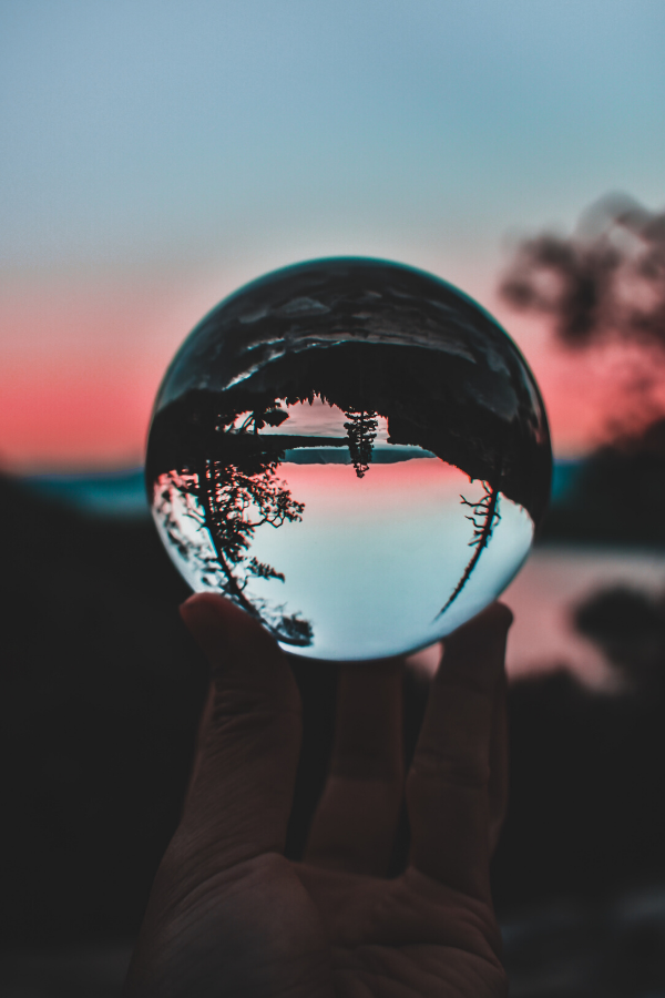 Crystal ball flipping horizon upside-down