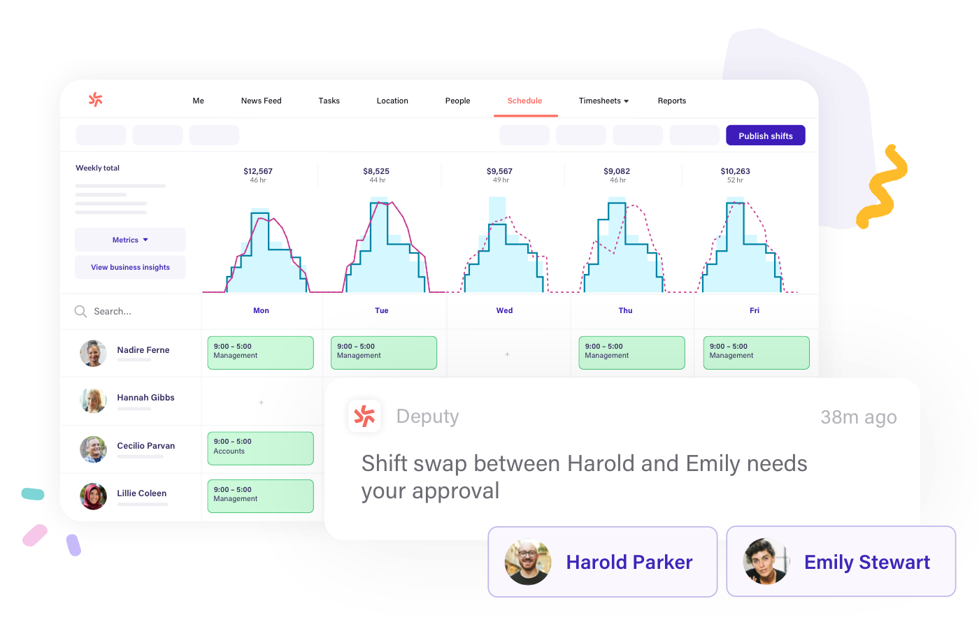 Swap shift easily with Deputy scheduling software