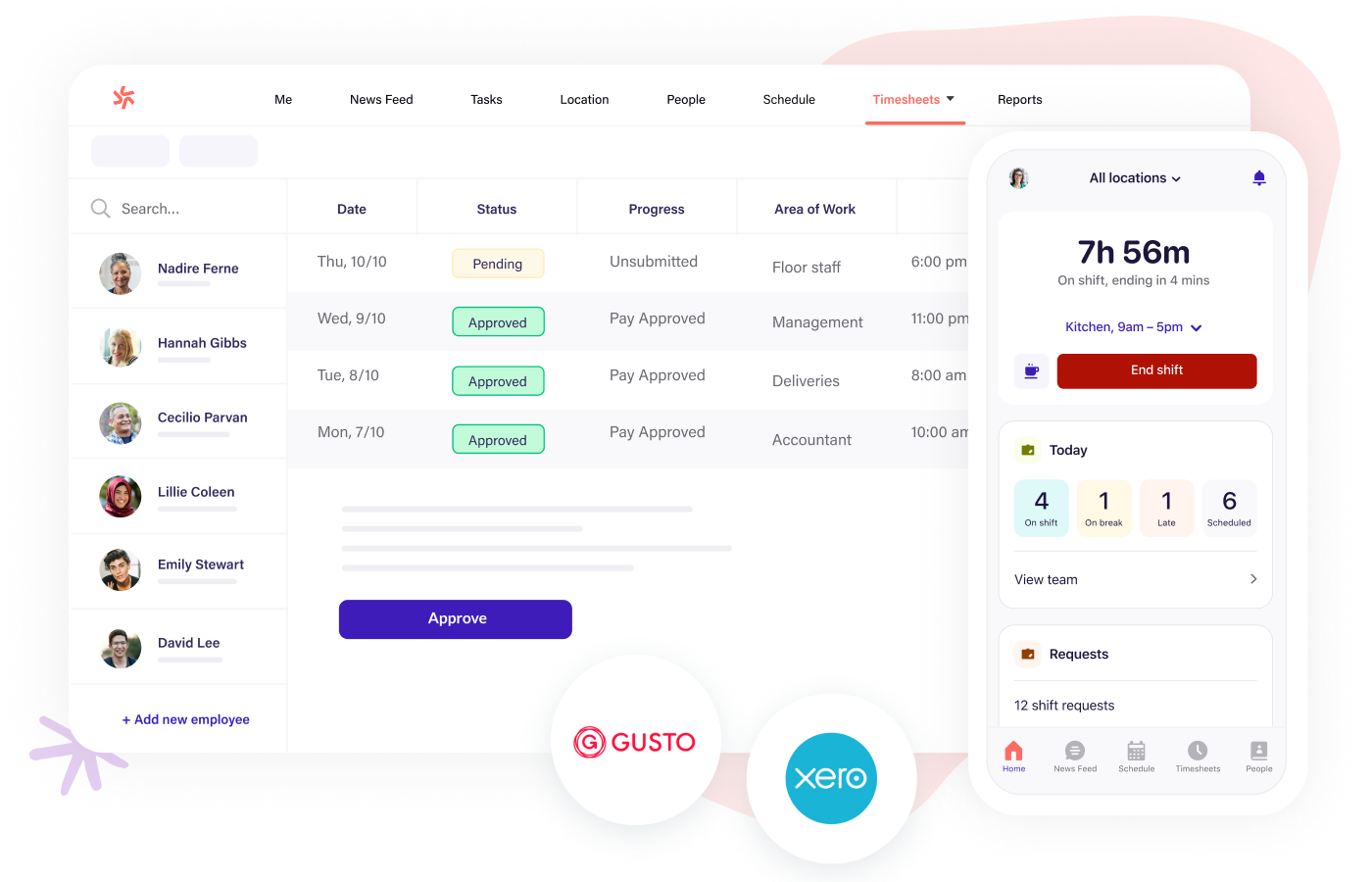 Track time and export timesheets to payroll easily with Deputy scheduling software