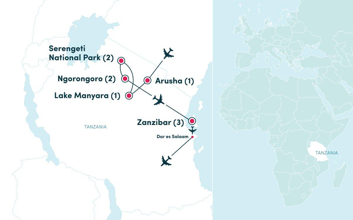 Map Of Africa Zanzibar.African Safari Tanzania Zanzibar Ef Ultimate Break