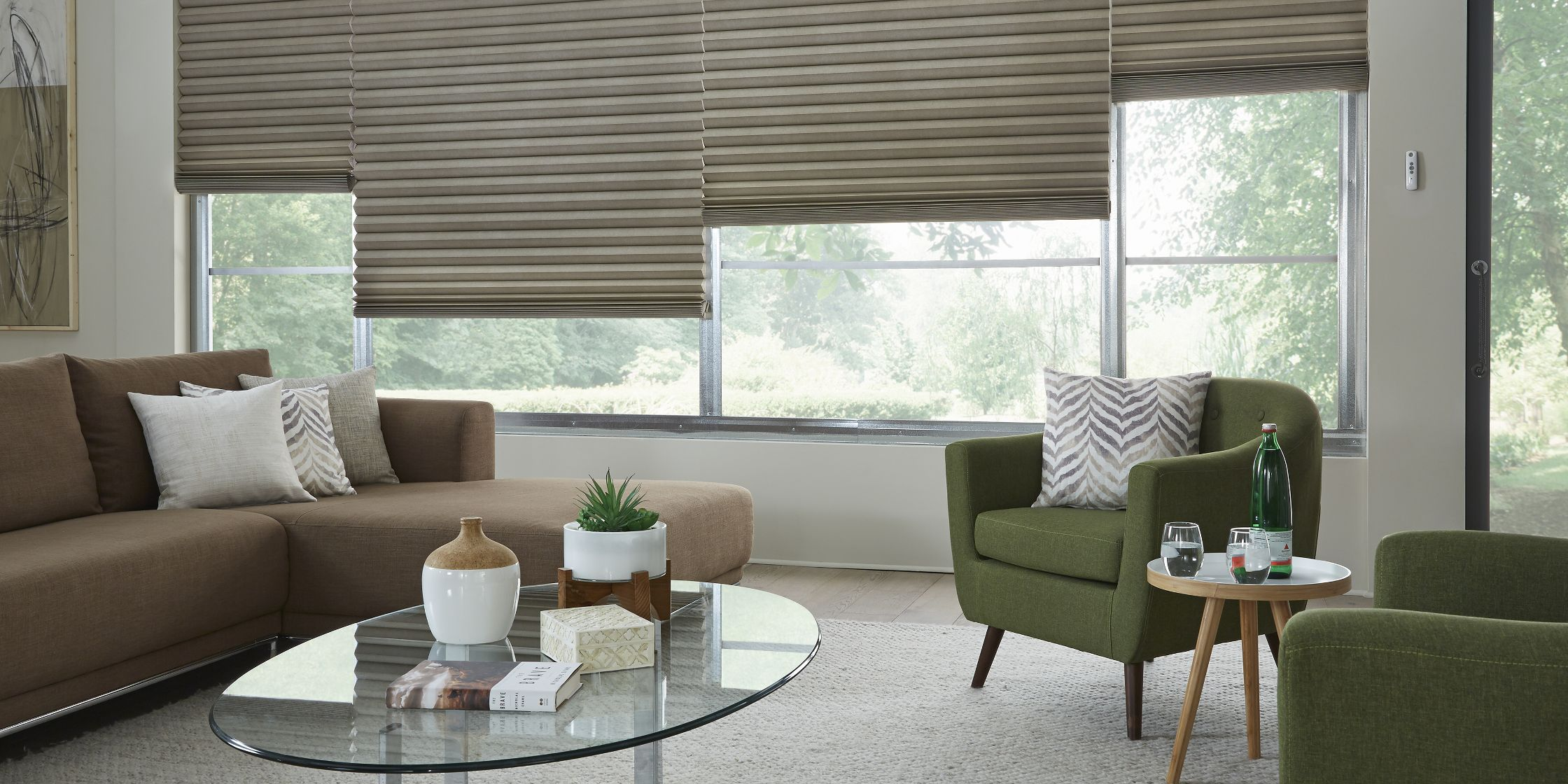 Motorized cellular shades are among the many options available at Stoneside