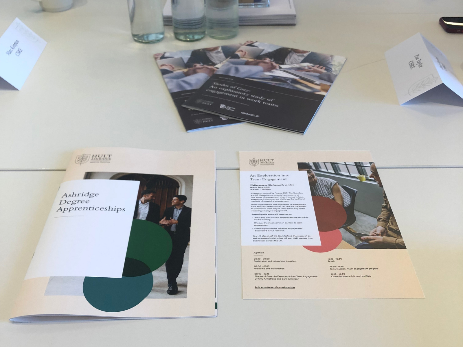 Brochures laid out on desk
