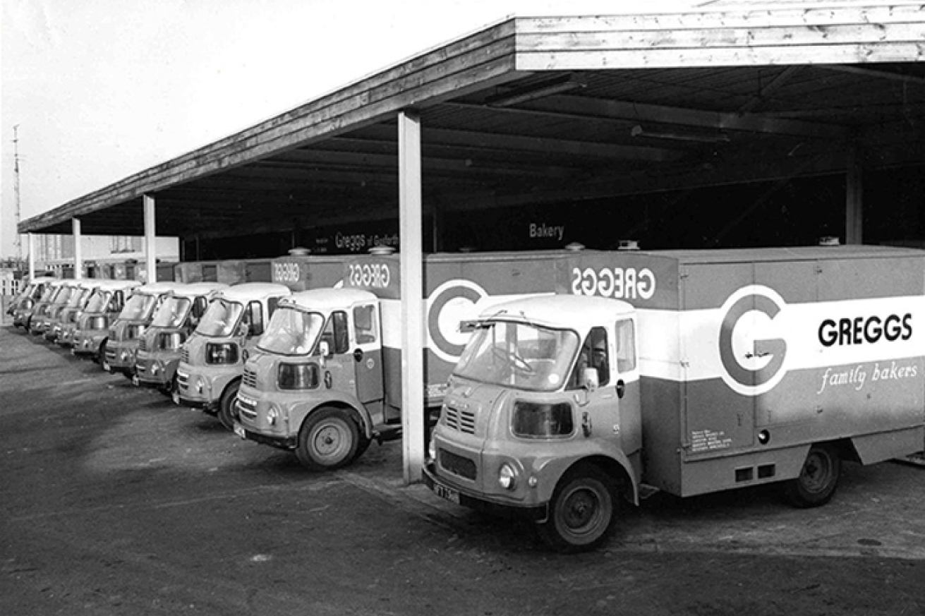 A row of the first Greggs vans