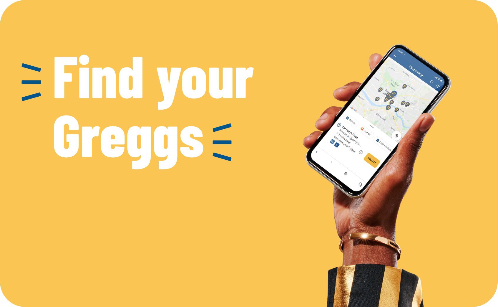 Hand holding phone displaying some of our Greggs shops