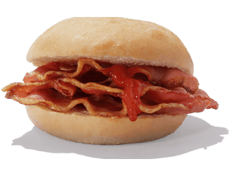 A bacon roll with ketchup
