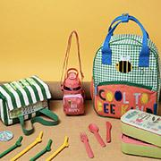 Kids bee design lunch bag, water bottle, backpack, reusable straws and lunch box.