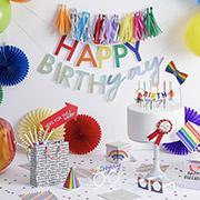 Bright happy birthday bunting with birthday decorations