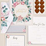 Pampas floral wedding invitations