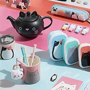 Cat themed teapot, cups, snackboxes, water bottles, notebooks and pens
