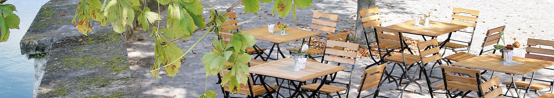 Outdoor Biergartenmöbel Tische und Stühle für Gastronomie und Hotellerie