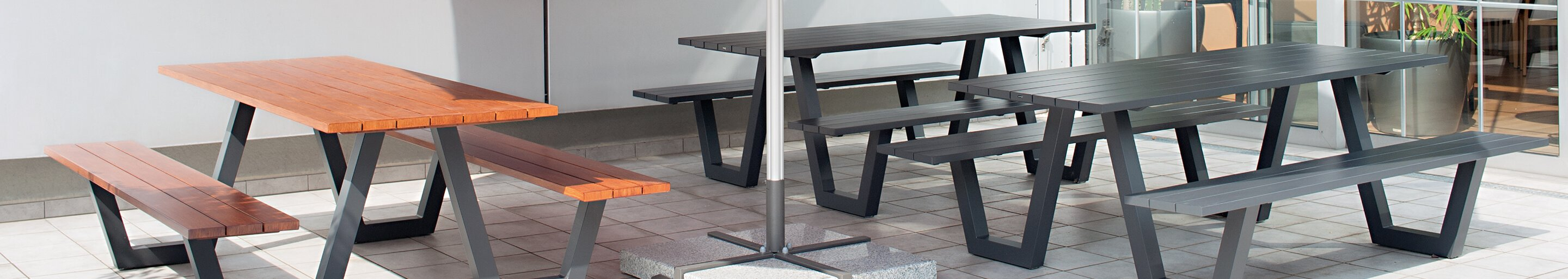 Outdoor Table-Bench-Combinations for your restaurant or hotel