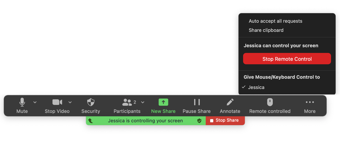 Stopping remote control in Zoom