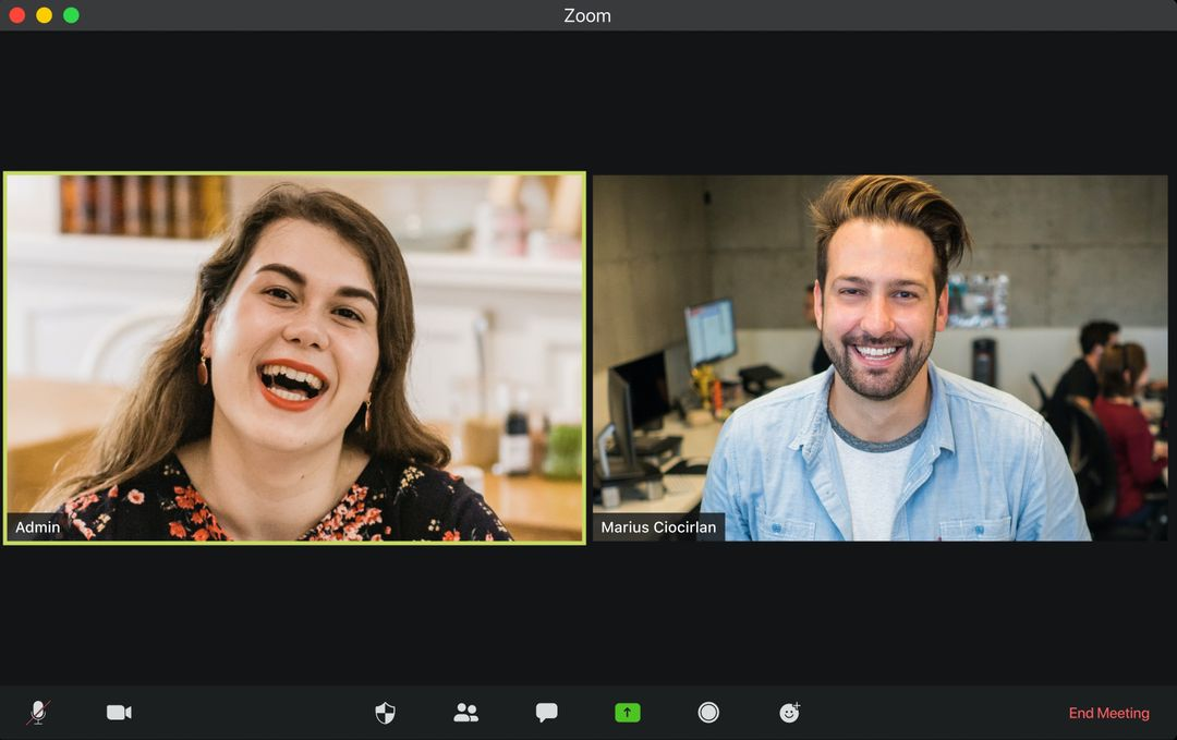 Two persons in a Zoom call