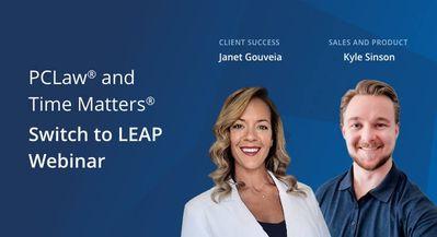 LEAP staff Janet & Kyle portrait with webinar slide