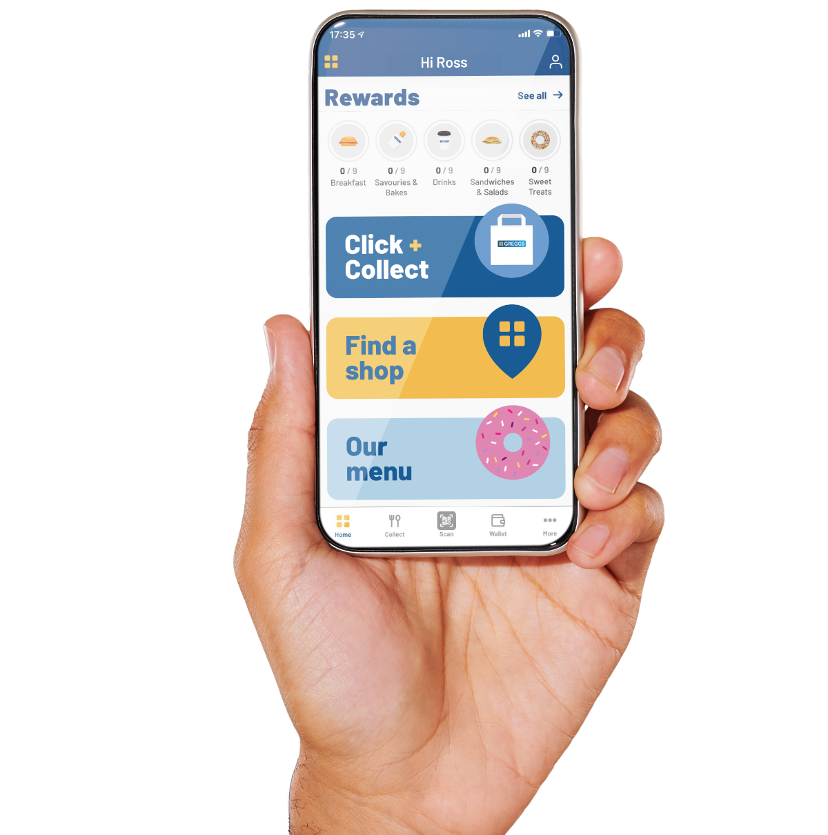 Hand holding a smartphone displaying the new Greggs app