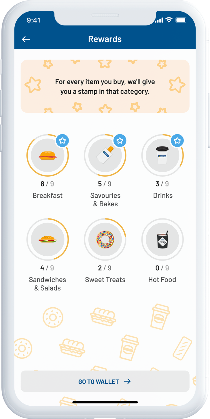 A mockup of the new Greggs app, showing the rewards screen