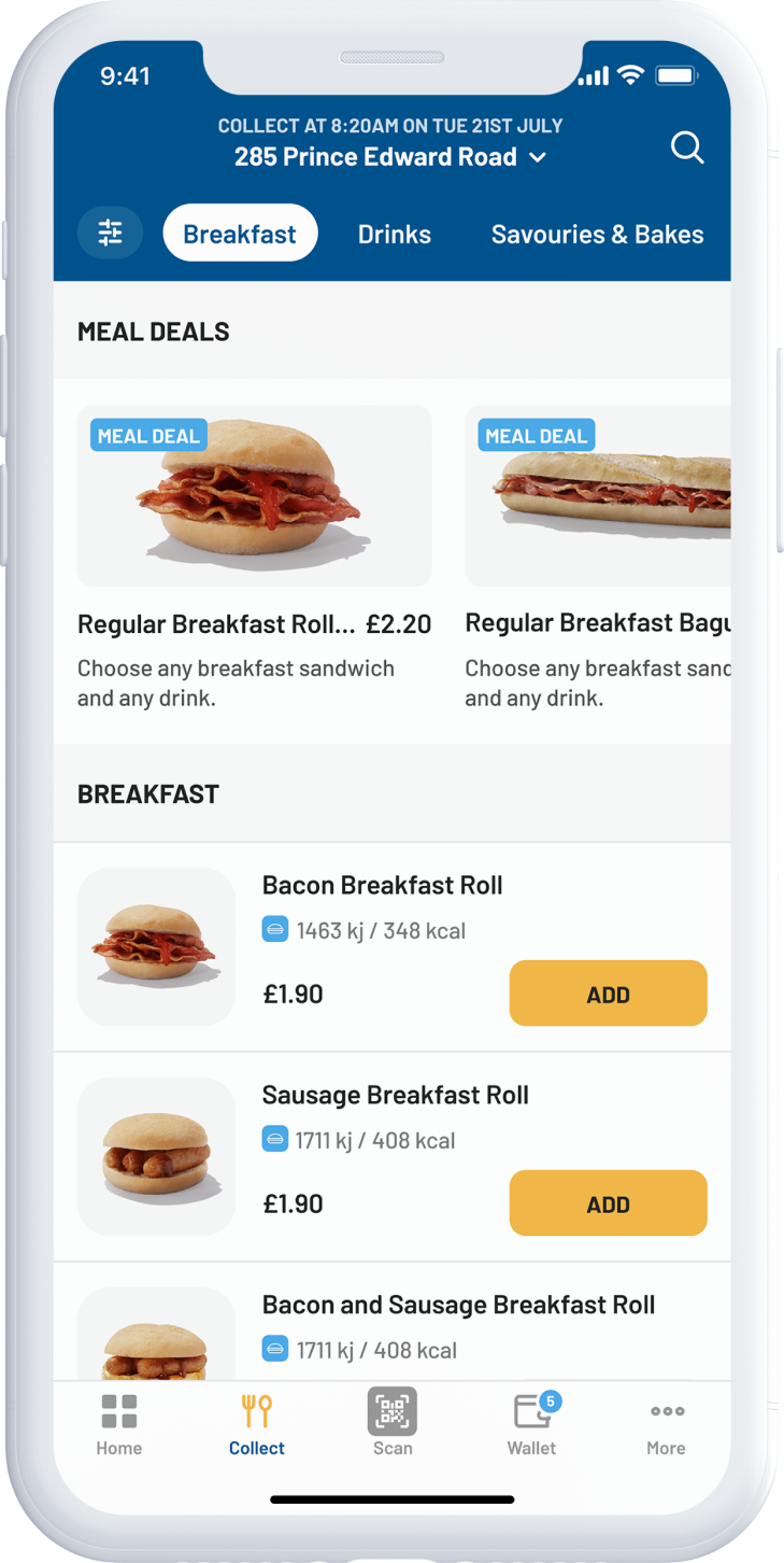 A mockup of the new Greggs app, showing the click and collect ordering screen